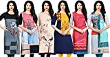 Navlik Women's Crepe Straight Kurti(Pack of 6) (FT-123456_Multicolored_Medium)