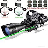 Hunting Rifle Scope Combo C4-12x50EG Dual Illuminated with Laser sight 4 Holographic Reticle Red/Green Dot for Weaver/Rail Mount