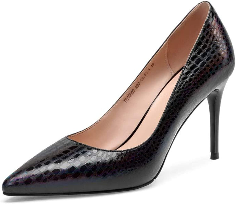 Nine Seven Women's Genuine Leather Pointy Toe High Heel Handmade Sexy Stiletto Heel Party Dress Pumps