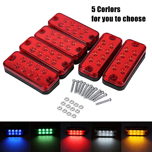 VGEBY 6Pcs Auto Seitenblinker 12V 8 LEDs Laster Seitenmarkierungslampe Wasserdicht Trailer Indikatoren Lichter ( Farbe : Rot )