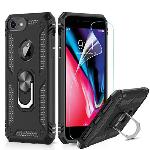 LeYi Funda iPhone SE 2020/6 / 6S / 7/8 Armor Carcasa con 360 Anillo iman Soporte Hard PC y Silicona TPU Bumper antigolpes Fundas Case para movil iPhone 7 con HD Protector de Pantalla,Negro