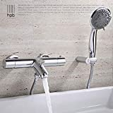 HPB Brass Thermostatic Faucet Bathroom Shower Faucets Wall Mounted Bathtub Mixer Bath Set torneira banheiro chuveiro HP5201,With Hand Shower
