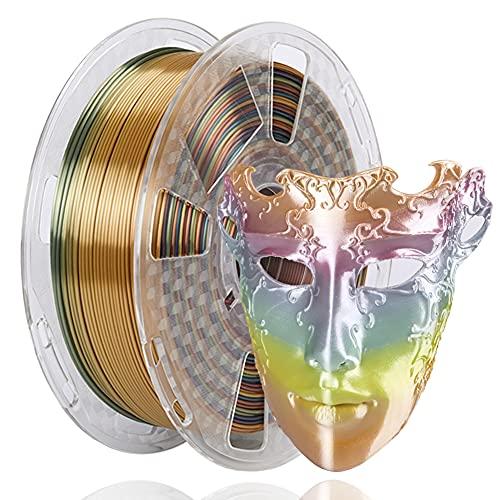 Amazon Brand - Eono Rainbow Multicolour PLA Filament 1.75mm, Silky Metallic 3D Printer Filament PLA, Dimensional Accuracy +/- 0.03mm, 1KG 2.2 LBS Spool for 3D Printers 3D Pen