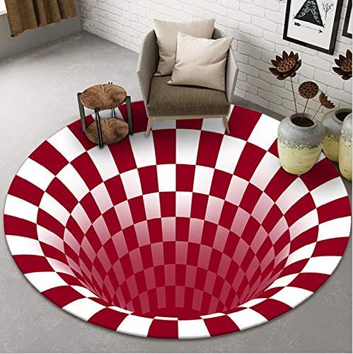 BAJIE Bereich Teppich 3D-Illusion Teppich Runden Geprägt Teppich Fußboden Kissen Illusionen Matten Kariert Runden Bereich Teppich Dekor (Color : E, Size : 150x150cm)
