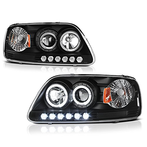 [For 1997-2003 Ford F-150 Pickup Truck] LED Halo Ring Black Housing Projector Headlight Headlamp Assembly, Driver & Passenger Side