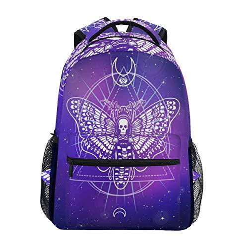 Moth Skull Mochilas Space Galaxy Laptop Book Bag Casual Extra Durable Mochila Ligera Viajes Deportes Day Pack para Hombres Mujeres