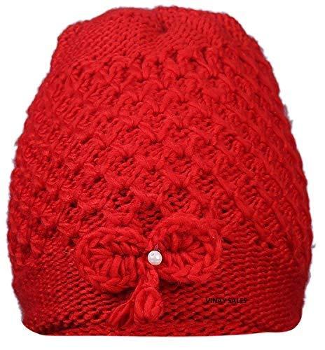 Vinay Sales Women's Woolen Cap|| Red ||