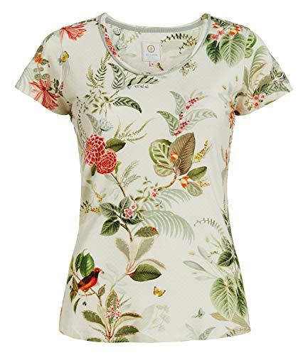 PiP Studio Damen T-Shirt Kurzarm Pyjama Oberteil Short Sleeve Tilly Floris, Wäschegröße:M