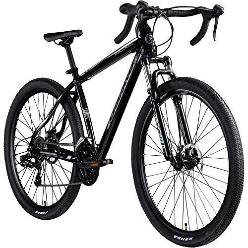 Galano Crossrad 29 Zoll Fitnessrad Fahrrad Crossbike Road Cross Rennrad Rad (schwarz/grau, 48 cm)