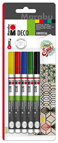 Marabu 0122000000080 - Deco Painter, matte Acrylmalstifte auf Wasserbasis, schnell trocknend, Universalspitze mit Strichstärke 1 - 2 mm, 5 Stifte in gelb, rot, blau, grün und schwarz