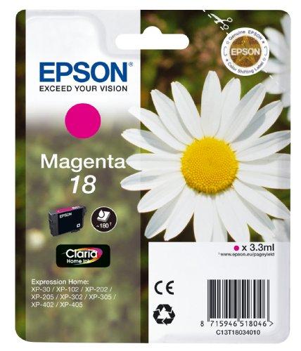 Epson Orginal 18 Tinte Gänseblümchen, XP-305 XP-402 XP-215 XP-312 XP-315 XP-412 XP-415 XP-225 XP-322 XP-325 XP-422 XP-425, Normalverpackung, Standard, (magenta)