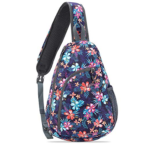 HOLYBIRD Chest Sling Bag Outdoor Hiking Backpack Waterproof Crossbody Daypack for Women (Floral 2#)