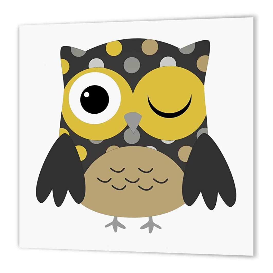 3dRose ht_61009_2 Cute Yellow Polka Dot Owl Iron on Heat Transfer Paper for White Material, 6 by 6