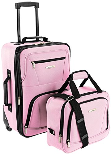 Rockland Fashion Softside Upright Luggage Set, Pink