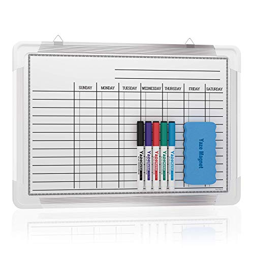 Chore Chart for Kids and Adults - Easy Clean 17x12' Kids Chore Board with 5 Magnetic Marker Pens and Magnetic Eraser - Remember Chores, Appointments and Deadlines - Hang Board Chores Chart for Kids