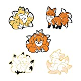 Cartoon Fox Pins Set Cute Enamel Fox with 9 Tails Brooch Lapel Pin Badges Animals Brooches Pin for Bag Clothes Hat