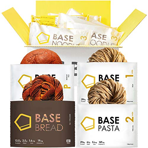 BASE BREAD ベースフード 完全食 スタートセット 完全栄養食 食物繊維 (フェットチーネ2食 アジアン2食 プレーン4個 チョコレート4個)