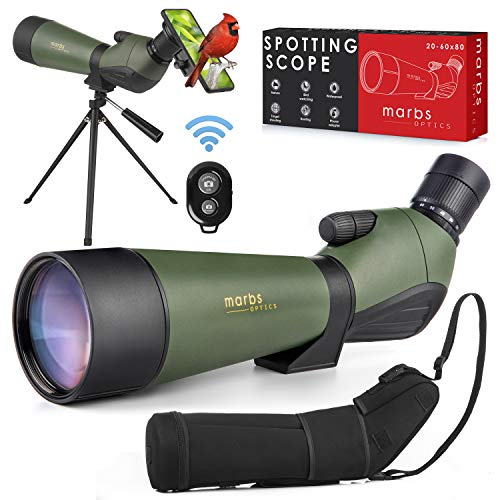 MARBS 20-60x80 Spotting Scope with Tripod, HD Dual Focusing, BAK4 Prism, Phone Adapter, Remote Control & Carrying Bag- Spotting Scopes for Target Shooting, Bird Watching, Hunting & Astronomy