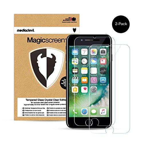 MediaDevil Pellicola Protettiva per iPhone 8 e iPhone 7 - in Vetro Temperato Crystal Clear (Invisibile) - (2-Pezzi)