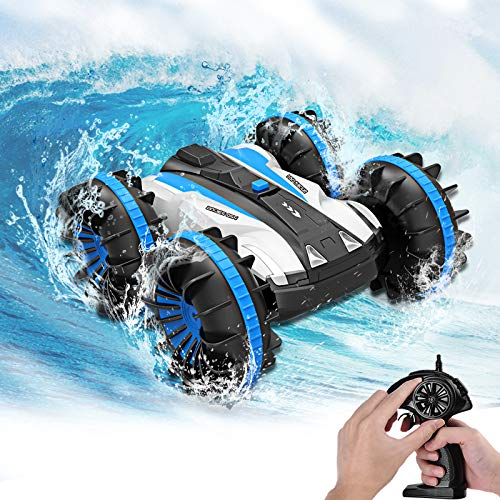 Seckton Toys for 5-10 Year Old Boys Amphibious RC Car for Kids 2.4 GHz Remote Control Boat Waterproof RC Monster Truck Stunt Car 4WD Vehicle Girls Gifts All Terrain Water Beach Pool Toy-Blue