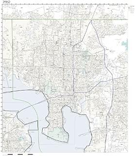 Working Maps Zip Code Wall Map of Tampa, FL Zip Code Map Laminated
