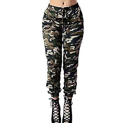 Clearance Sale! Charberry Womens Camouflage Printed Bandage Trousers Military Army Green Casual Loose Pants (US-14 /CN-L3) from Charberry