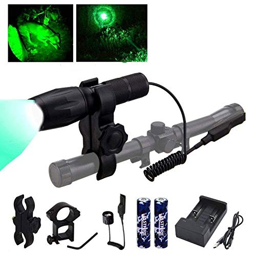 VASTFIRE 350 Yard Green Hunting Light Zoomable Flashlight Hog Predator
