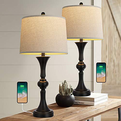 """Oneach Traditional Table Lamps Set of 2 with USB Charging Port for Living Room 29.25"""" Nightstand Lamp for Bedroom Bedside Table Lamp with Neutral Drum Shade Black"""
