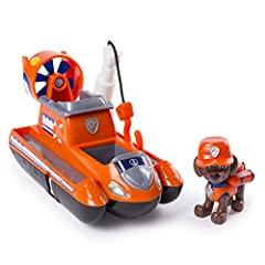 HOVERCRAFT TOY WITH MOVING PROPELLERS: Ready, set, get wet! Join Zuma on his hovercraft, equipped with working wheels, a spinning propeller and extendable rescue hook! ROOM FOR 2 PUPS: Load up to two of your favorite Ultimate Rescue pups (1 Zuma Figu...