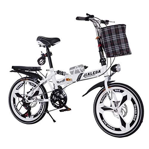 WLGQ Bicicleta Plegable Frenos de Disco de Cambio 20 Pulgadas Absorción de Golpes Bicicleta Ultraligera Unisex Bicicleta Plegable portátil (Color: Blanco, Tamaño: 150 * 30 * 100 CM)
