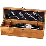 Monsterzeug Wein Sommelier Geschenkbox Holz, Weinzubehör 5-teilig Geschenkset, Weinset Geschenkverpackung, Weinbox Holzkiste, Weingeschenkkiste