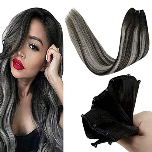 """LaaVoo Micro Loop Weft Extension Humain 50Grammes Microbead Cheveux Bresilien Tissage Balayage Noir Naturel Avec Gris Argenté Cheveux à La Mode Micro Weft Femme #1b/silver 22"""""""