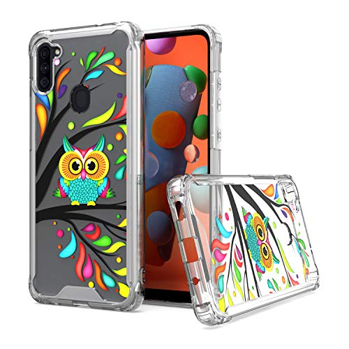 KWEICASE Cell Phone Case for Samsung Galaxy A11, Clear Acrylic Backing with Colorful Decoration Owl in The Tree Design, Slim Fit TPU Hybrid Shockproof Protective Cover