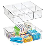 mDesign Plastic 6 Compartment Divided Office Drawer Storage Bin - Organizer for Staplers, Binder Clips, Adhesive Tape, Paper Clips, Note Pads for Cabinets, Drawers, Office Shelf - 2 Pack - Clear