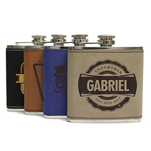 Engraved Brown Groomsmen Flasks - Personalized Wedding Favors - Custom Monogram Groomsman Gifts - WPS