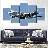 QMCVCDD Impresiones sobre Lienzo 5 Piezas,Modular Decoración De Pared Póster,5 Piezas Cuadro Regalo Creativo Vuelos Emirates Airbus A380 Decor Moderna Habitación Hogar