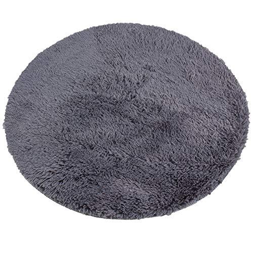 Gurxi Teppich Schlafzimmer Grau Sofa Teppiche Runder Teppich Rund Wohnzimmer Kunstfell Pelz Stil Teppich Beige Bettvorleger Plüsch Rutschfest für Wohnzimmer Schlafzimmer Kinderzimmer Sofa (Grau 60 cm)