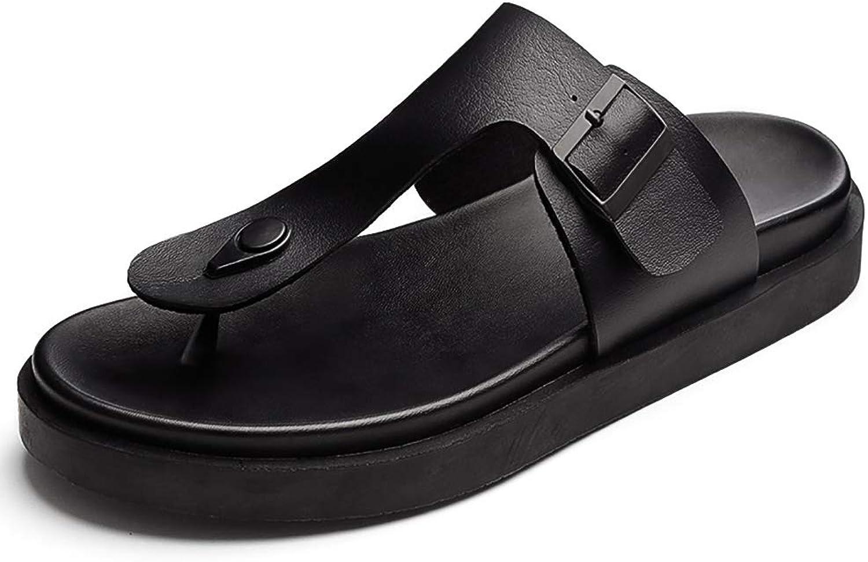 KTOL Casual Men's Flip Flops, Summer Slide Sandals Beach Shower Sandals Waterproof Non-Slip Soft Buffer Damping Black
