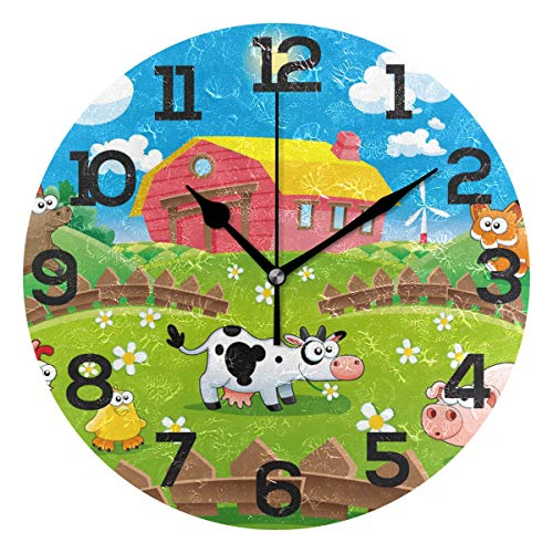 JERECY Farm Animal Cow Chicken Pig Wall Clock Silent Non Ticking Acrylic 10 Inch Home Office School Decorative Round Clock Art