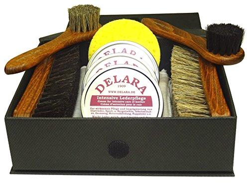 DELARA DELARA 9-teiliges, Exklusives Schuhputzset mit Intensiver Lederpflege in DREI Farben in schwarzer Box mit Goldprägung