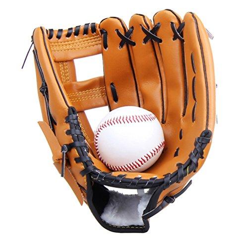 Yiiquan Unisex Guanti da Baseball, Softball, Pelle Outfield Guanto Addensare per Bambini Adulto (Marrone, Asia L)
