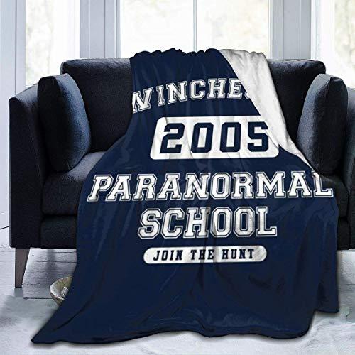 Manta de Franela Tela de Cepillo Extra Suave Súper cálida Mantas para sofás acogedora y Ligera Texto del Equipo Universitario de Winchester Paranormal School
