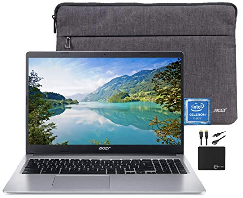2021 Premium Acer Chromebook 15.6' HD Laptop Light Computer, Intel Celeron N4000, 4GB RAM, 32GB eMMC, HD Webcam, Intel UHD Graphics 600, 12+ hours Battey, Sleeve, Bluetooth, Chrome OS,w/Marxsol Cables