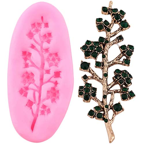 ZPZZPY Gem Tree Branches Silicone Jewelry Resin Clay Mold Cupcake Topper Fondant Cake Decorating Tools Candy Chocolate Gumpaste Moulds