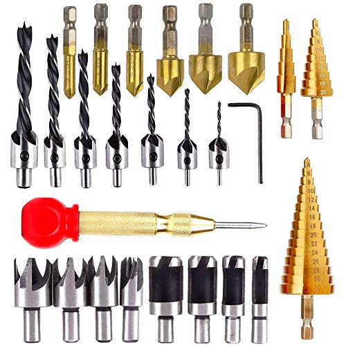 Loboo Idea 26 Pieces/Set Drilling Tools, Including 6 Countersink Drill Bits, 7 Three Pointed Drill Bit,1 L-Wrench, 8 Wood Plug Cutter, 4 Step Drill Bit Set (26 Pieces/Set, Silver and Gold)