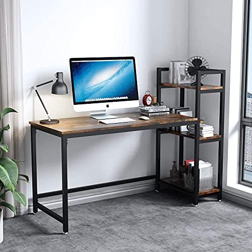 Dripex Mesa Escritorio Ordenador con Estantes Reversibles,Escritorio de Esquina, Mesa Estudio PC 131x60x110cm,Moderno Industrial, Resistente y Estable, Mesa Madera Oficina casa,Marrón Rústico