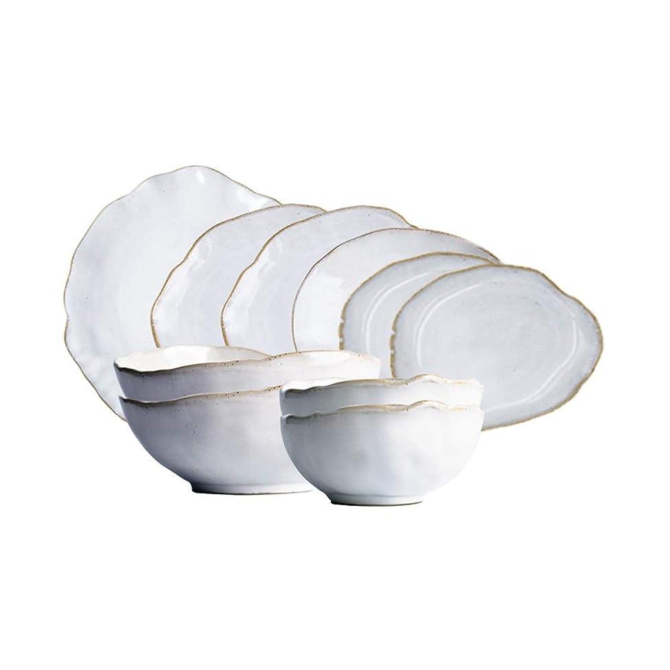 BLWX - Irregular cutlery set 10 pieces combination plate steak plate salad bowl noodle bowl bowl set bowl