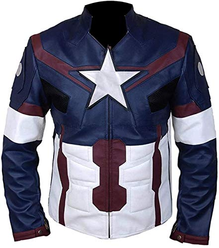 Fashion Age of Ultron Celebrity Chris Evans Captain America Stylish Superhero Costume Jacket for Men's (3X-Large) Blue