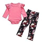 TUDUZ Bebé Niña Manga Larga Body Camisetas Carta Mono Pantalones Florales Venda De Pelo Ropa Conjunto Recién Nacido (RosadoG, 70)