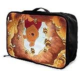 Winnie Pooh Bolsa de viaje plegable, ligera, de gran capacidad, portátil, bolsa de equipaje para cabina, viaje, bolsa de viaje, bolsa de viaje, equipaje para viajes de negocios, excursión